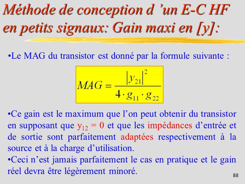 Méthode de conception d 'un E-C HF en petits signaux: Gain maxi en [y]: